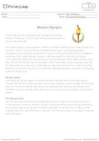 Reading Comprehension - Modern Olympic Games