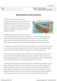 Viking Raids and Invasions - Reading comprehension
