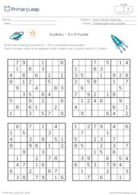 Sudoku 9 x 9 puzzle - Space theme