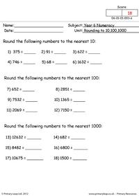 Rounding to 10, 100 and 1000