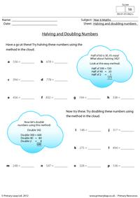Halving and doubling numbers