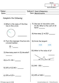 Mental maths 6