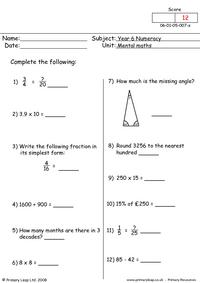 Mental maths 7