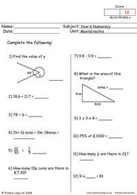 Mental maths 8