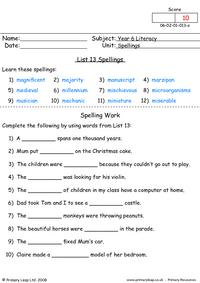 Spelling list 13