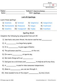 Spelling list 20