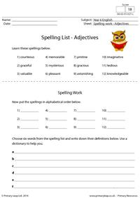 Spelling List - Adjectives