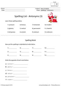 Spelling List - Antonyms (3)