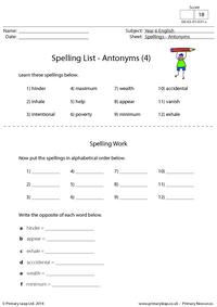 Spelling List - Antonyms (4)