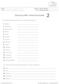 Dictionary Skills - Word Unscramble 2