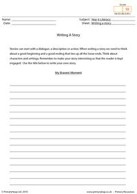 Writing a story - My bravest moment