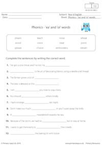 Phonics - 'ea' and 'oi' words