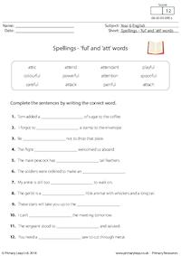 Spellings - 'ful' and 'att' words