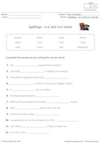 Spellings - 'o-e' and 'u-e' words