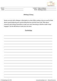Writing a story - The birthday