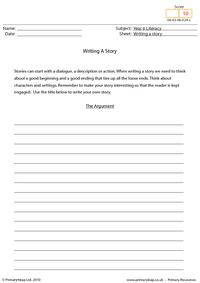 Writing a story - The argument