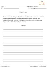 Writing a story - Super hero