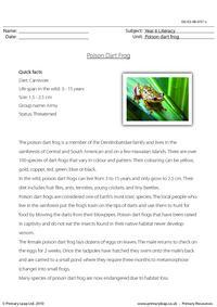 Reading comprehension - Poison dart frog
