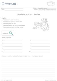 Classifying animals - Reptiles
