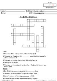Bob Geldof Crossword