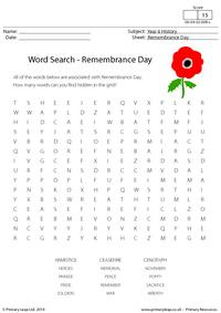 Word Search - Remembrance Day