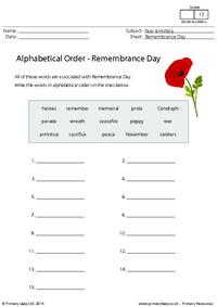 Alphabetical Order - Remembrance Day