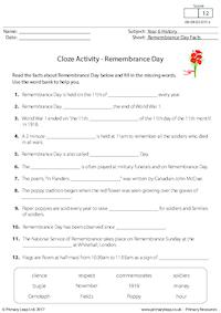 Cloze Activity - Remembrance Day Facts