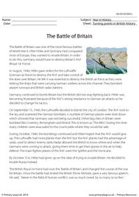 The Battle of Britain - Reading comprehension