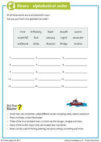 Rivers - alphabetical order