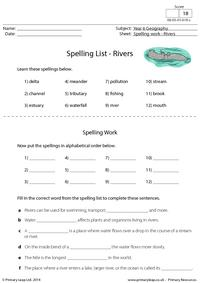 Spelling List - Rivers