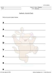 Aardvark acrostic poem