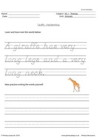 Giraffe handwriting