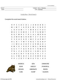 Grizzly bear word search