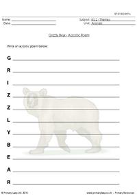 Grizzly bear acrostic poem