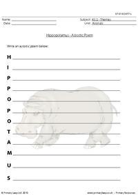 Hippopotamus acrostic poem