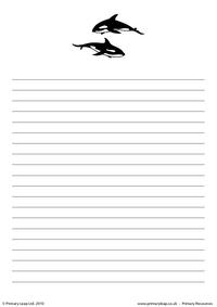 Killer whale writing paper 2