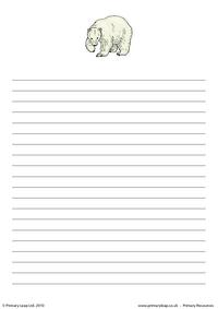 Polar bear writing paper 1