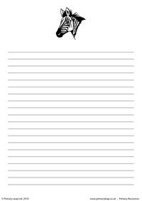 Zebra writing paper