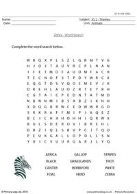 Zebra word search