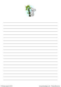 Writing paper - koala