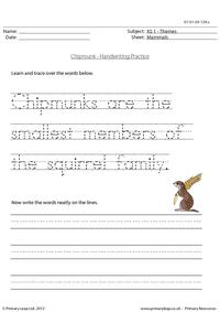 Chipmunk - Handwriting practice