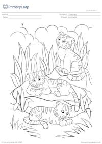 Colouring page - Tiger cubs