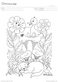 Colouring Page - The Kitten and the Duckling