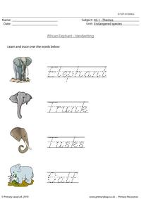 Elephant handwriting