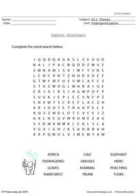 Elephant word search