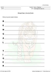 Bengal tiger acrostic poem