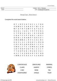 Bengal tiger word search