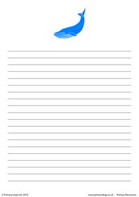 Blue whale writing paper 2
