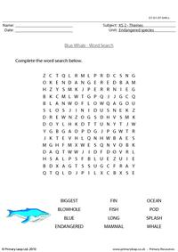 Blue whale word search