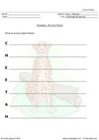 Cheetah acrostic poem